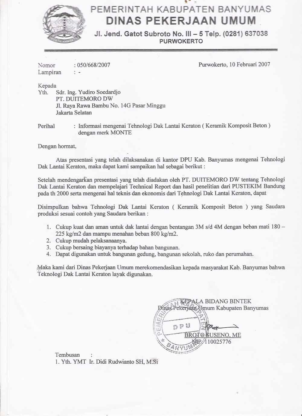 Contoh Surat Dinas Resmi untuk Perusahaan
